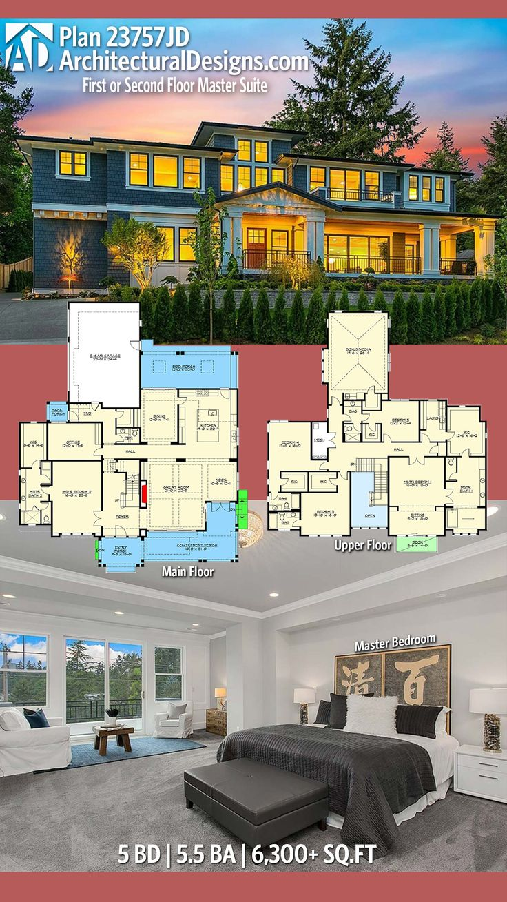 Architectural Designs Traditional House Plan 23757JD has 5 beds and 5.5 baths and over 6,300 square feet of heated living space. Ready when you are. Where do YOU want to build? #23757JD #adhouseplans #architecturaldesigns #houseplan #architecture #newhome #newconstruction #newhouse #homedesign #dreamhome #dreamhouse #homeplan #architecture #architect #houses