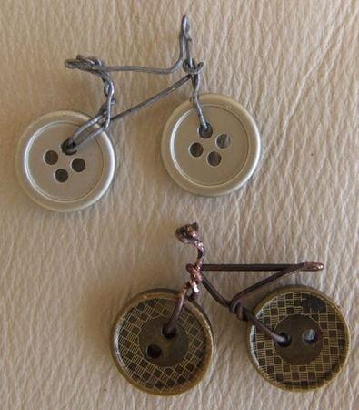 bicicletas con botones y alambre