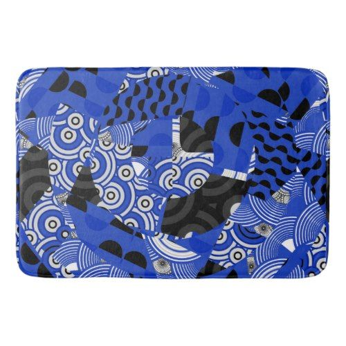 Cobalt Blue Black White Asian Abstract Bath Mat
