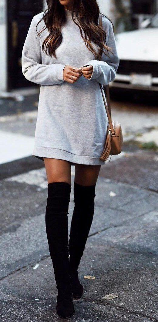 Grey Dress // Black Knee Length Boots                                                                             Source