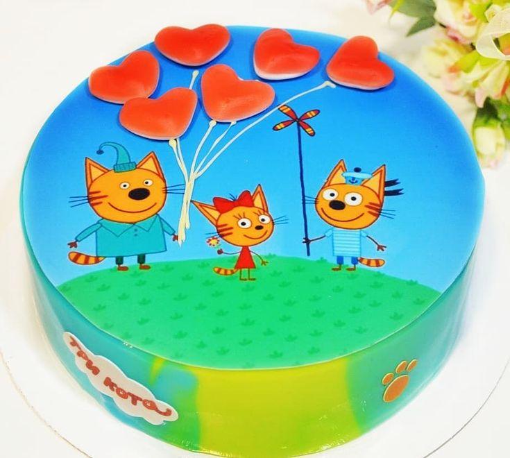 Музыкальные днем, картинка на торт три кота