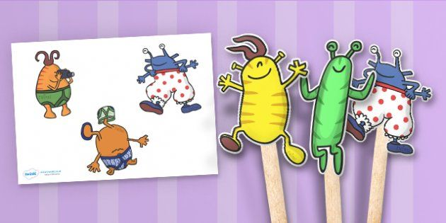 Aliens Love Underpants Stick Puppets - aliens, woolly, long johns, space ship, underpants, Claire Freedman, stick puppets, puppets, story book, book, book resources, story, bloomers, knickers, frilly, earth, radar, red, washing line, pants