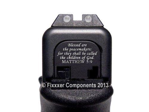 Black Slide Cover Plate for Glock, by Fixxxer LLC, fits most Glock models. (GLOCK, Mathew 5:9)