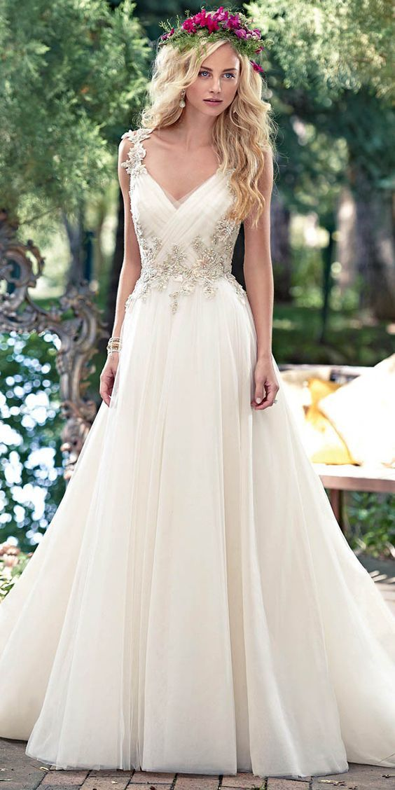 Maggie Sottero V neck Lace Wedding Dress / http://www.deerpearlflowers.com/lace-wedding-dresses-and-gowns/2/