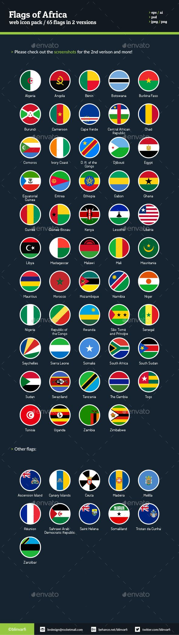 Flags of Africa  Flat Icons — Photoshop PSD #africa #flags • Available here → https://graphicriver.net/item/flags-of-africa-flat-icons/303012?ref=pxcr