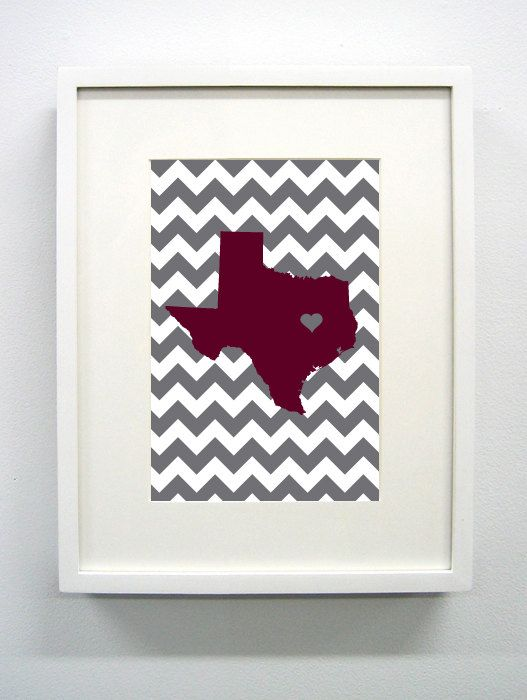 College Station Texas State Giclée Print 8x10 by PaintedPost