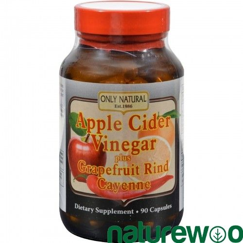 Only Natural - 526178 - Apple Cider Vinegar Plus GrapeFruit Rind and Cayenne - 500 mg - 90 Capsules