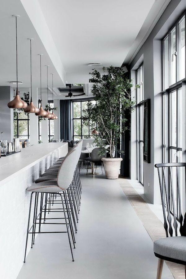 soft greys + architectural windows + copper pendants + greenery