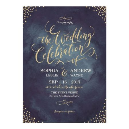 Glam night faux gold glitter calligraphy wedding card - click to get yours right now!