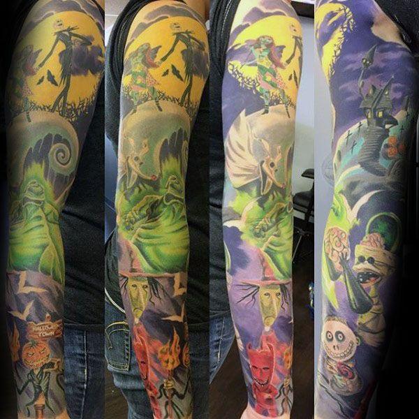 100 Nightmare Before Christmas Tattoos Fur Manner Spuk Design Ideen Mann Stil Tattoo Nightmare Before Christmas Tattoo Christmas Tattoo Tattoos For Guys