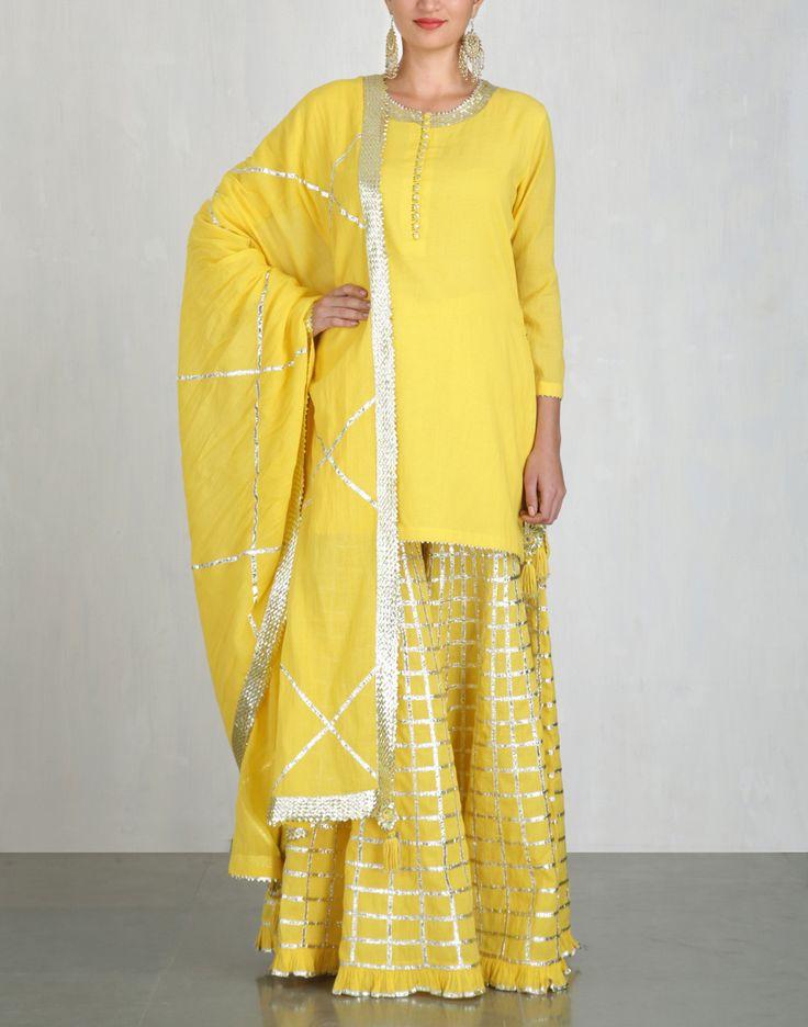 Yellow Kurta and Sharara Set