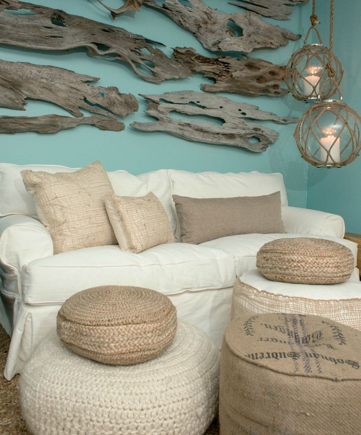 I love driftwood as art! just one piece... thin pieces of drift wood on the wall as art - adds texture and interest