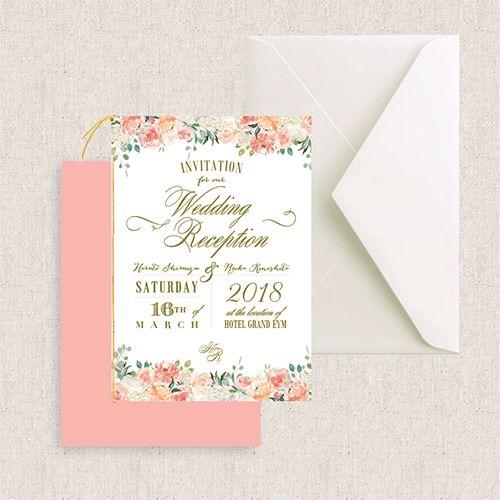 結婚式の招待状の準備ならおしゃれなEYMオリジナル招待状を♡ポケットフォルダーやカード型など海外風のおしゃれさはそのままに定番の二つ折りの招待状もご用意しました♡Peaches&Cream/Muguetは明るく優しい印象のフラワーモチーフでコーラル系のカラーがかわいらしいデザインの招待状です♡こちらの招待状はウェディンググッズ通販サイトEYMにて販売中です。