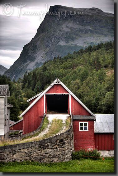 Ramp to the upper level of a bank barn    Keywords: Stock Photo Picture Art Photography Bank Barn Banked Barn Beautiful Photos Clouds Cloudy Colorful Europe HDR High Dynamic Range Kongeriket Noreg Kongeriket Norge Landscape Photography More og Romsdal Mountains Møre og Romsdal Nordic Nordic Countries Norway Painterly Ramp Scandinavia Scenic Photos Stranda Stranda Region Style Vertical