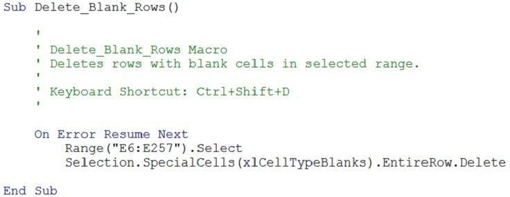 example of vba code for macro to delete rows with blank cells