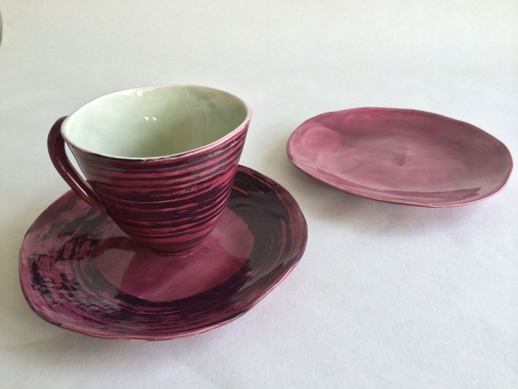 Plum-SWIRL breakfast set. Amazing color. Stunning gift. Sold individually as well. Teacher farmer lover or YOU! :) Many colors are available. 5% discount on buying as a set. leawoodceramics.etsy.com
