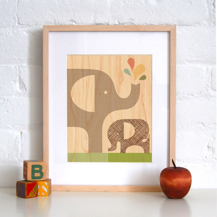 Framed Elephant Art Print on Wood