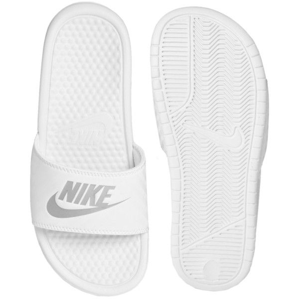 Nike White Benassi JDI Sliders (€19) ❤ liked on Polyvore featuring shoes, sandals, nike, shoes - sandals, white, white strappy sandals, white strap sandals, nike shoes and wide width shoes