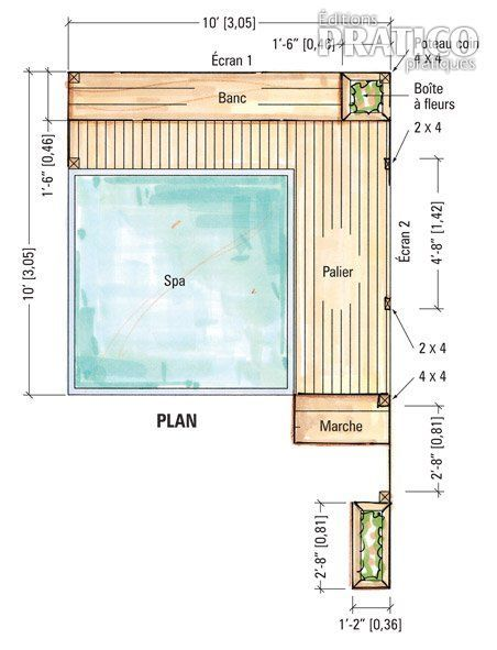 Best 25 spa tub ideas on pinterest built in bath for Plan pour patio exterieur
