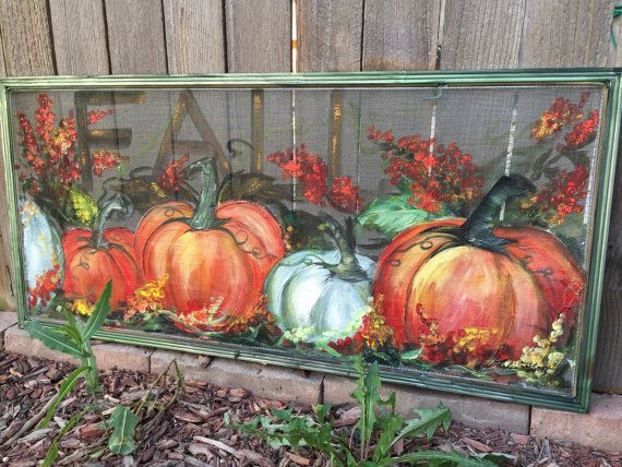 Old window screen Recycled Fall art hand by RebecaFlottArts