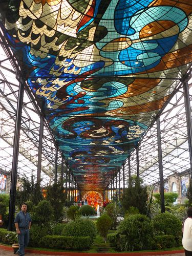 Cosmovitral in Toluca Mexico ~ What a beautiful stained glass ceiling!!
