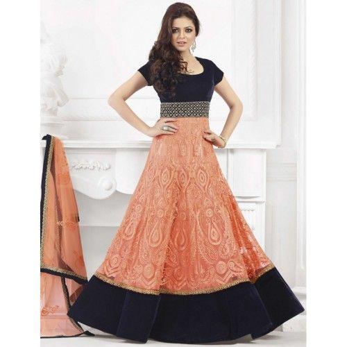 #DrashtiDhami Net & Velvet Orange Semi Stitched Long #AnarkaliSuit - 57012 #StayTrendyWithIndiaRush