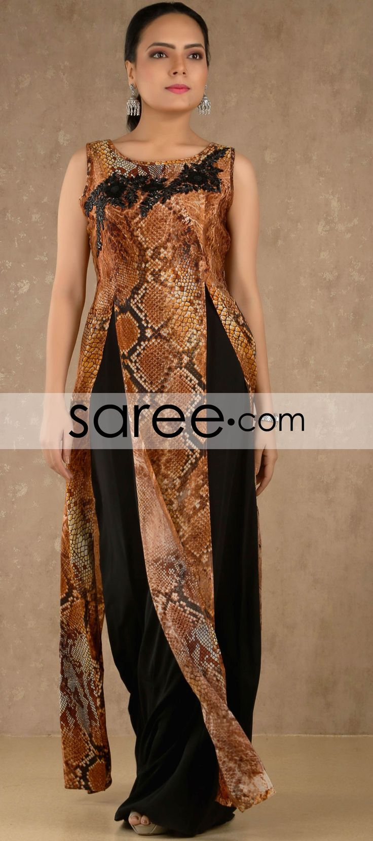 Brown and Black Satin Designer Kurti