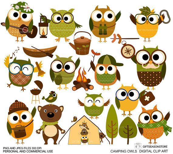 Hey, I found this really awesome Etsy listing at https://www.etsy.com/listing/158662881/camping-owl-clip-art-for-personal-and