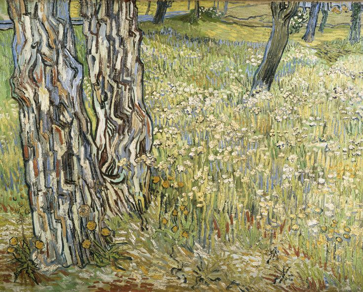 Field of Grass with Dandelions and Tree Trunks | Vincent van Gogh