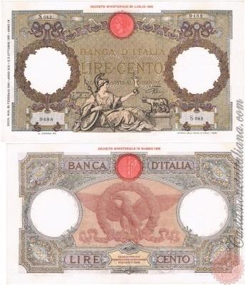 Cartamoneta Italiana .com - Museo Virtuale - : Banca d'Italia – Regno d'Italia - Foto: 100 LIRE - Capranesi - Aquila romana (L'Aquila - fascio) - N 19