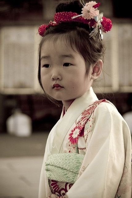 cute asian little girl in kimono