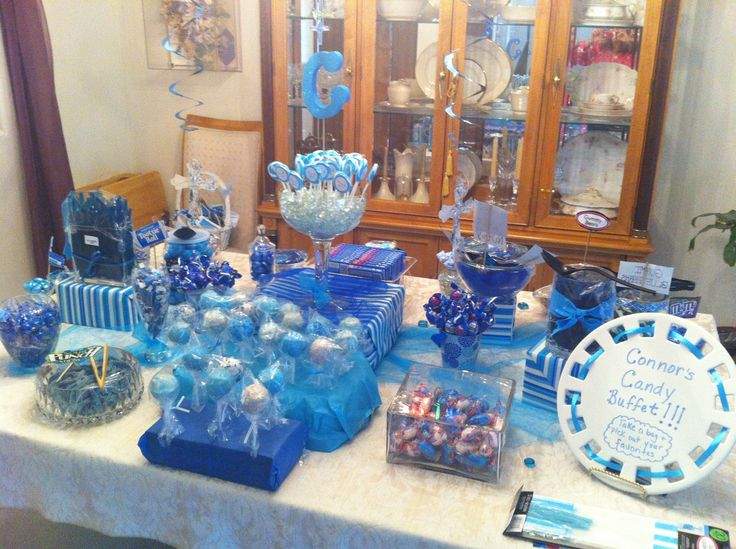 blue candy buffet blue themed candy bar pinterest. Black Bedroom Furniture Sets. Home Design Ideas