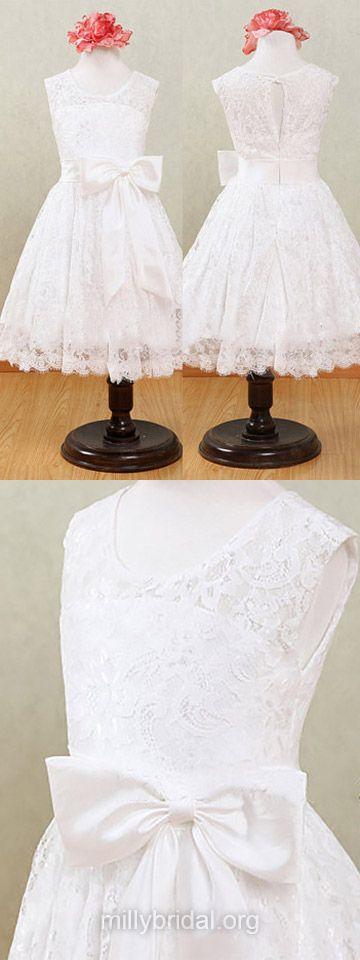 White Flower Girl Dresses Lace, Ankle-length Junior Bridesmaid Dresses Country, Scoop Neck First Communion Dresses Beautiful
