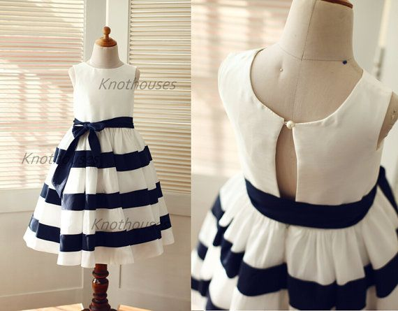 Ivory Navy Blue Stripe Taffeta Flower Girl Dress/Striped Junior Bridesmaid Dress/Girl Dresses for Wedding
