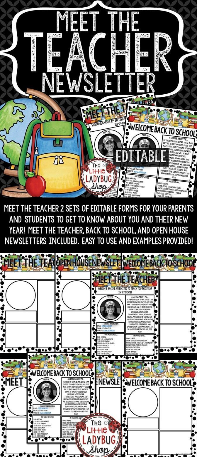 Meet The Teacher Newsletter EDITABLE is perfect for your busiest time of the year! This perfect and easy Meet the Teacher • Open House • Meet The Teacher Letter tool is a wonderful way for parents and your new students to get to know All About YOU. Your parents and students will walk away getting a glimpse about you and their new school year!