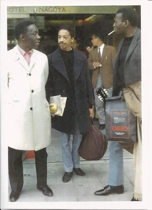 Master drummers Art Blakey, Tony Williams & Elvin Jones in Nagoya, 1966.