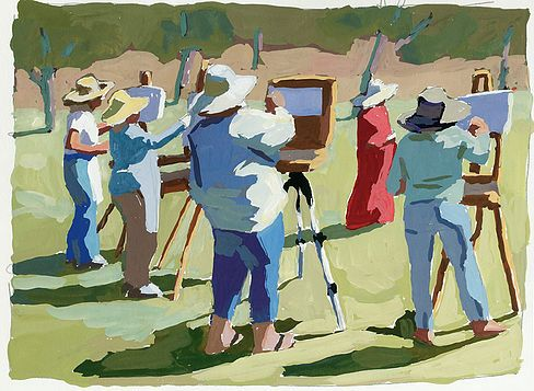 Figures, Painters, Class-- Gouache by Peggi Kroll Roberts