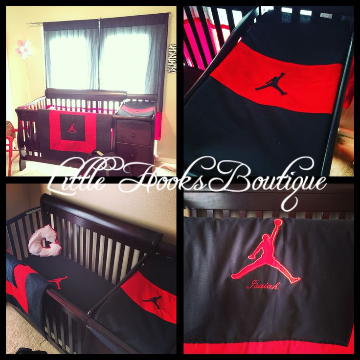 Our Air Jordan Jump Man Crib set <3 Custom Orders welcome https://m.facebook.com/LittleHooksBoutique message us for more information :) #jumpman #airjordan #crib set  Nursery set :)