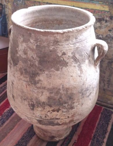 Vintage-Antique-GREEK-CRETAN-Ceramic-Pot-26-4-034-Tall