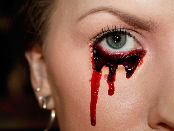 Crying blood.. I am doing something like this for Halloween!! Mine will be more dramatic and dark..