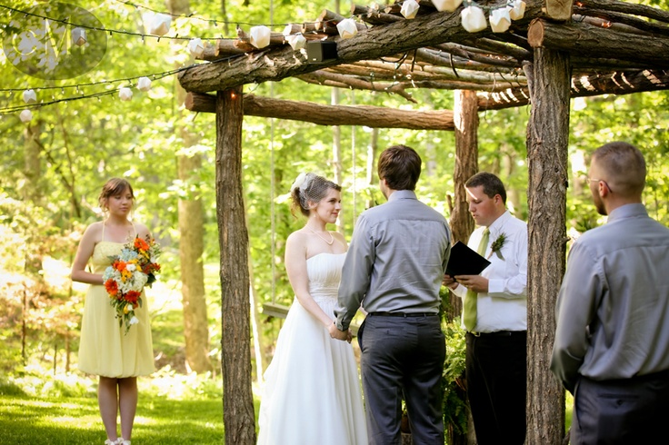 wonderful maid of honor, best man, and officiant. Dreamy groom. #alter #chuppah #wedding