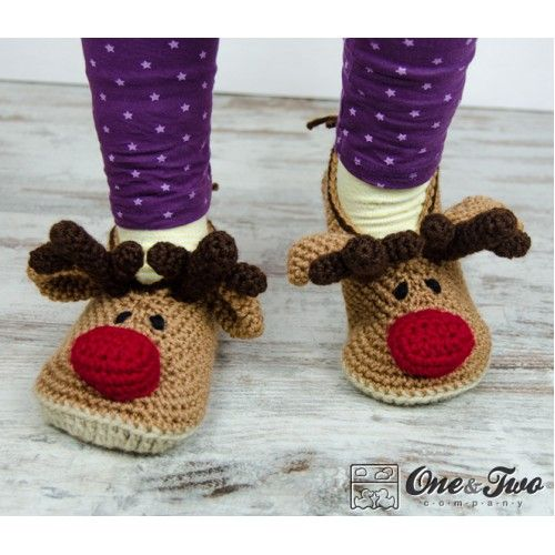 Reindeer Booties - Child Sizes - Crochet Pattern by One and Two Company