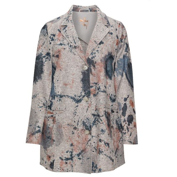 Frapp Taupe-Grey / Blue Plus Size Printed wool blend blazer (755 SEK) ❤ liked on Polyvore featuring outerwear, jackets, blazers, plus size, blue blazer, grey blazer, longline blazer, plus size blazer jacket and women's plus size jackets