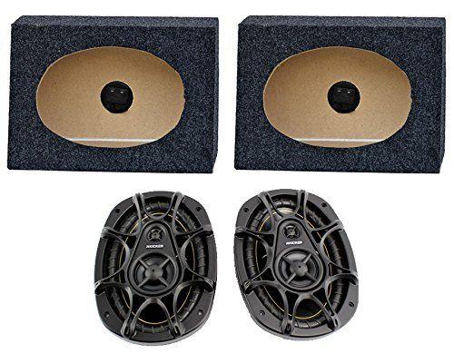 """2) Kicker DS693 6x9"""" 280W 3-Way Car Speakers + 2) QTW6X9 Angled 6x9"""" Speaker Box"""