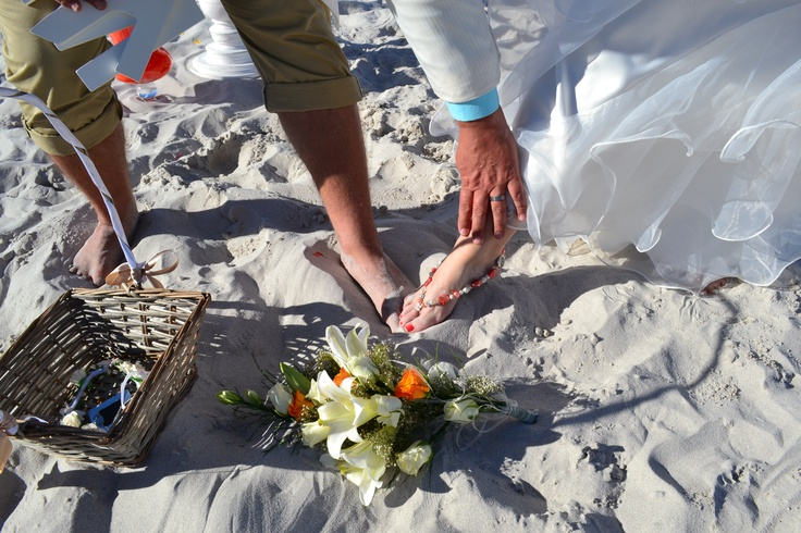 """Bronwyn made her own """"shoes"""" for the beach wedding ceremony"""