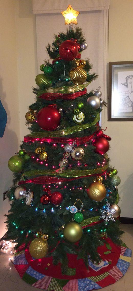 Rbol navide o rojo verde plata y dorado navidad - Arbol de navidad dorado ...