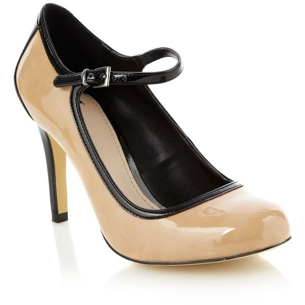 Beige High Heel Colour Block Patent Court Shoes ($57 ...
