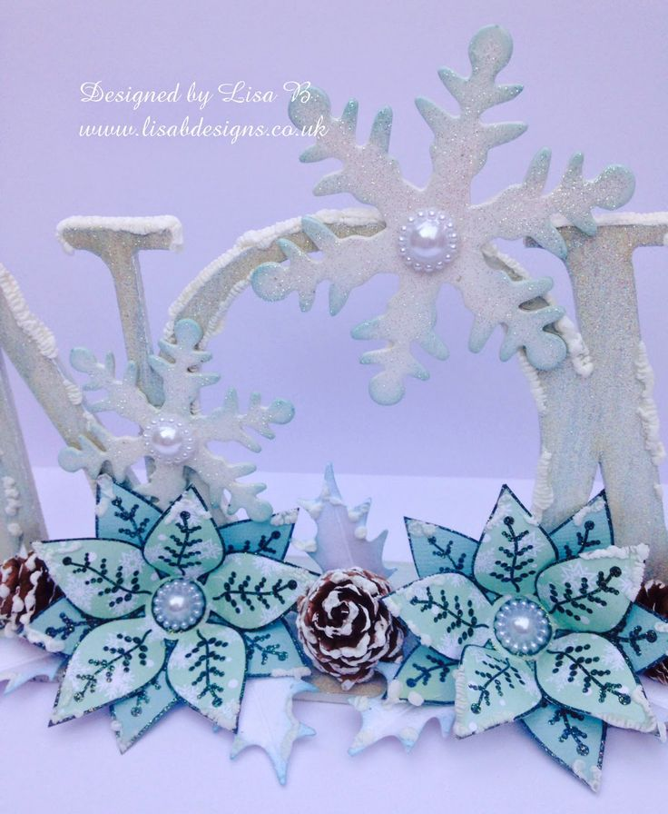 Christmas home décor. Anna Marie Designs word & poinsettia stamps.
