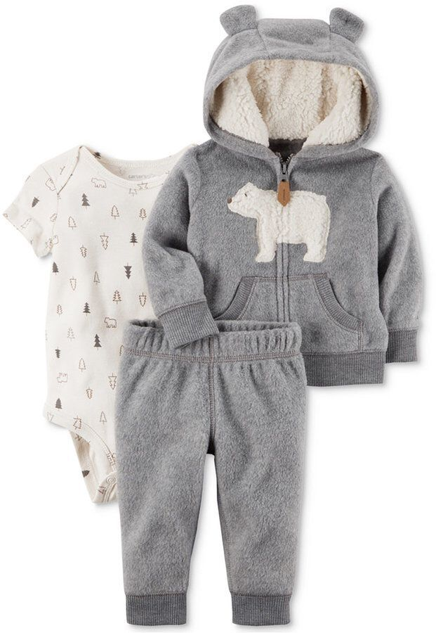 Carter's 3-Pc. Bear Hoodie, Bodysuit & Pants Set, Baby Boys (0-24 months) #pregnancypants, #babyboyoutfits #babyboyhoodies
