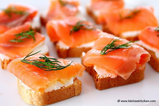 Smoked Salmon and Egg Salad Appetizers on Toasts